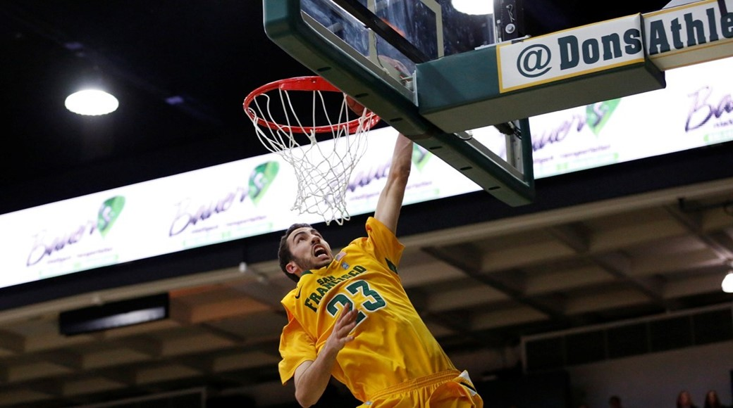 Mark Tollefsen is the tallest regular for the San Francisco Dons out of the West Coast Conference.
